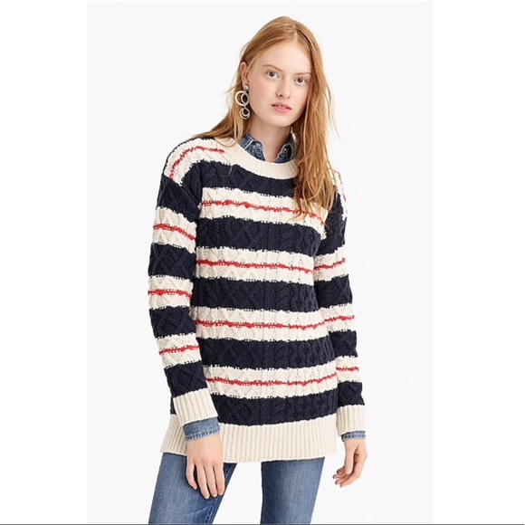 a407998418317b J. Crew Sweaters | Jcrew Cableknit Tunic Sweater In Stripe | Poshmark